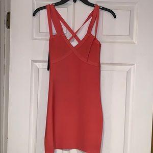Bebe coral bandage mini dress